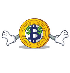 Money eye bitcoin gold character cartoon vector