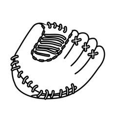 monochrome contour of baseball glove vector image