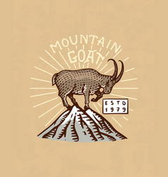 mountains goat logo camping label trip vector image