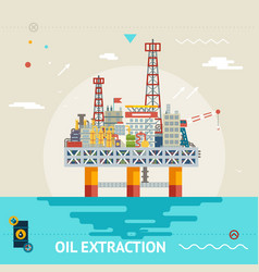 Oil production offshore platform colloquially rig vector