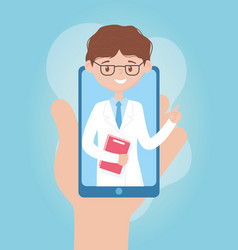 Online health hand with smartphone chat doctor vector