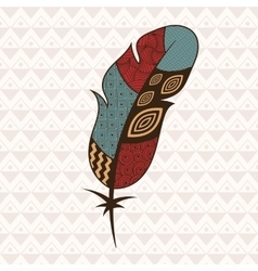 Patterned colorful feather vector image