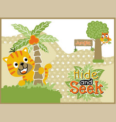 playing hide and seek with funny animals cartoon vector image