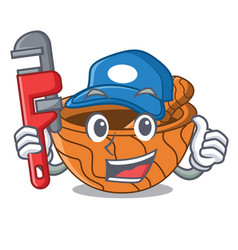 Plumber wooden kitchen mortar isolated on mascot vector