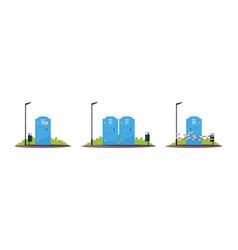 Portable public toilets semi flat rgb color vector