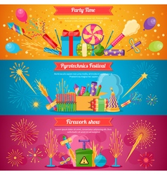 Pyrotechnics Festival Flat Banners vector image