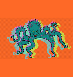 scary octopus character vector image