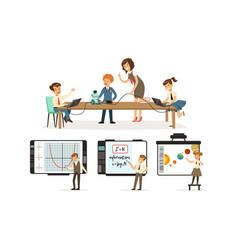 School children at informatics or programming vector