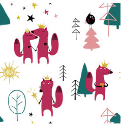 Seamless pattern with fairytale fox vector