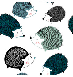 seamless pattern with ink drawn hedgehogs vector image