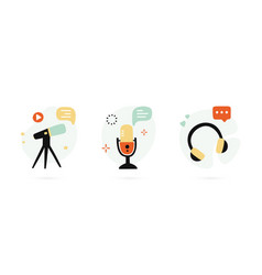 set hand drawn icons for podcasting social vector image