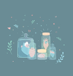 Set jars with hearts vector
