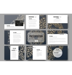 Set of 9 templates for presentation slides Golden vector