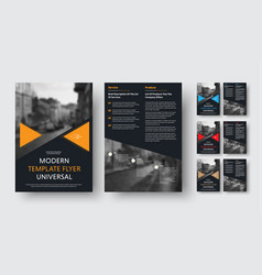 set of black a4 flyers with triangular color vector image