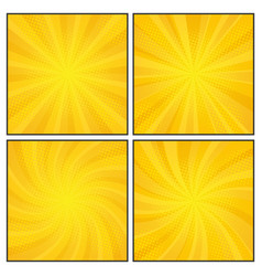 set of comics rays background with halftones vector image