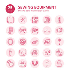 Sewing equipment tailor supplies flat line icons vector