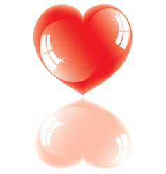 shiny heart with reflection vector image