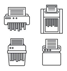 Shredder machine icons set outline style vector
