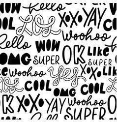 Slang youth word seamless pattern vector