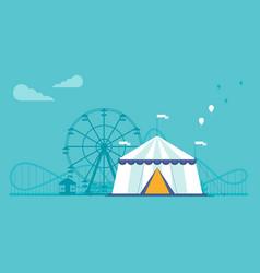the amusement park elements set in flat style vector image