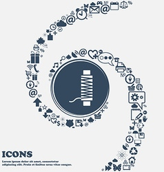 Thread Icon in the center Around the many vector