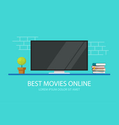 Tv screen or television movie online on desk vector
