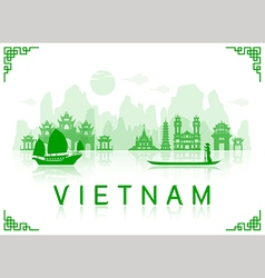 Vietnam travel landmarks vector