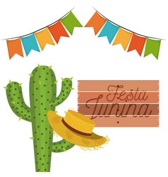 White background with cactus and hat celebration vector