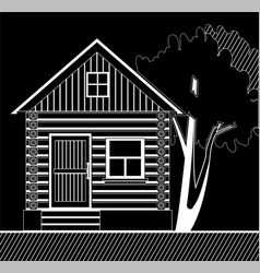 white wooden house with a tree on a black vector image