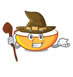 Witch cottage cheese mascot cartoon vector