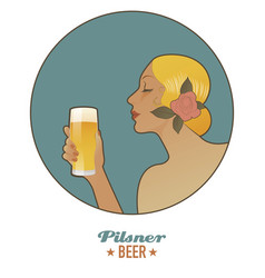 Woman holding a glass of beer pilsen vintage style vector