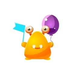 Yellow Toy Monster With Flag And Balloon vector image