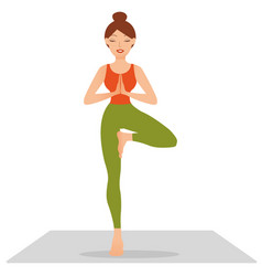 Young woman practicing yoga standing in tree vector