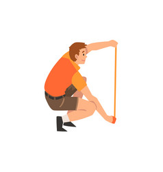 Zoo worker or veterinarian with measuring tape vector