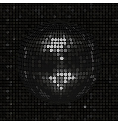 Black disco ball on black mosaic background vector image vector image