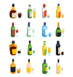 colored isometric alcohol icon set vector image
