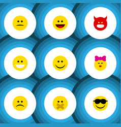 Flat icon expression set of grin laugh pouting vector