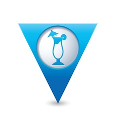 coctail icon on map pointer blue vector image