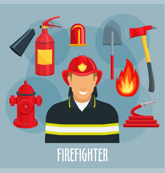 firefighter profession icon of fireman in uniform vector image