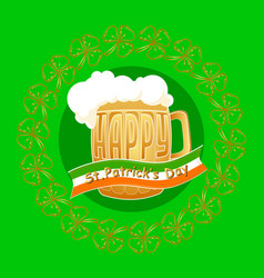 happy st patrick day greeting card on gree vector image