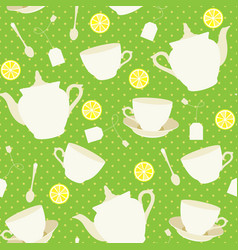 seamless pattern with cups and teapots and vector image vector image
