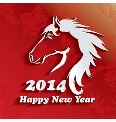 Year of the Horse Happy New Year 2014 vector image vector image
