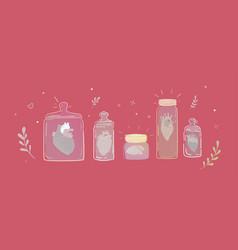 set of jars with broken hearts vector image