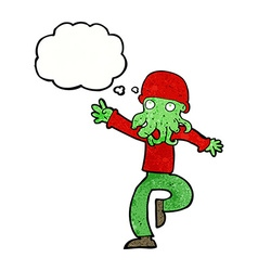 Cartoon alien monster man with thought bubble vector