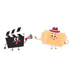 cinema production clapperboard movie ticket vector image vector image