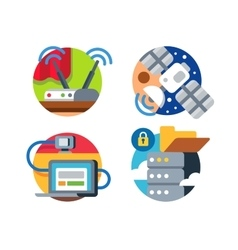 Internet technology icon set vector image vector image