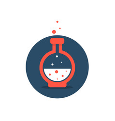 solution icon with red lab bottle vector image