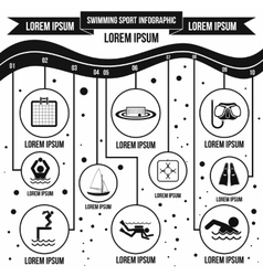 Swimming sport infographic elements simple style vector