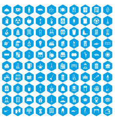100 cleaning icons set blue vector image
