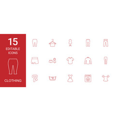 15 clothing icons vector
